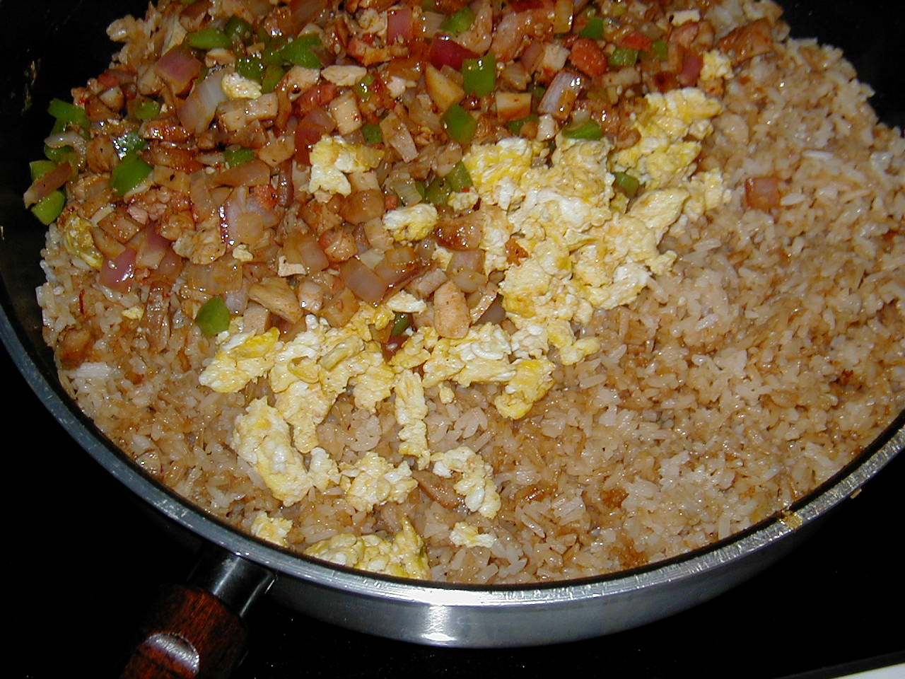 Micks oi shi fried rice recipe clickokinawa keep moving the ricemeat combination around in the wok pan so that it doesnt burn i like to leave it long enough to just barely scorch the rice enough ccuart Gallery