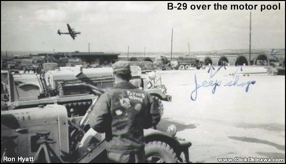 300 - B-29 over the motor pool